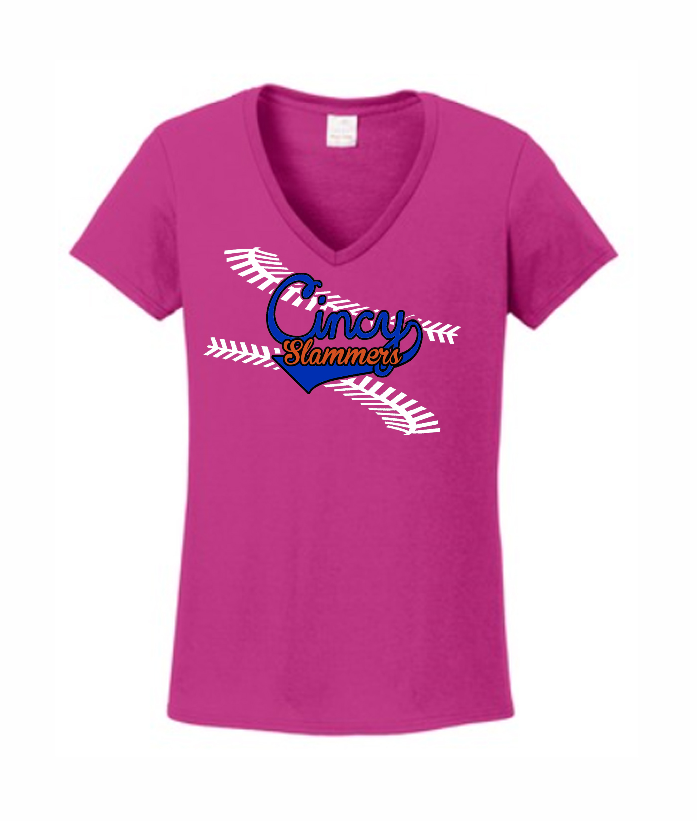 Ladies Pink V-neck Giant Laces