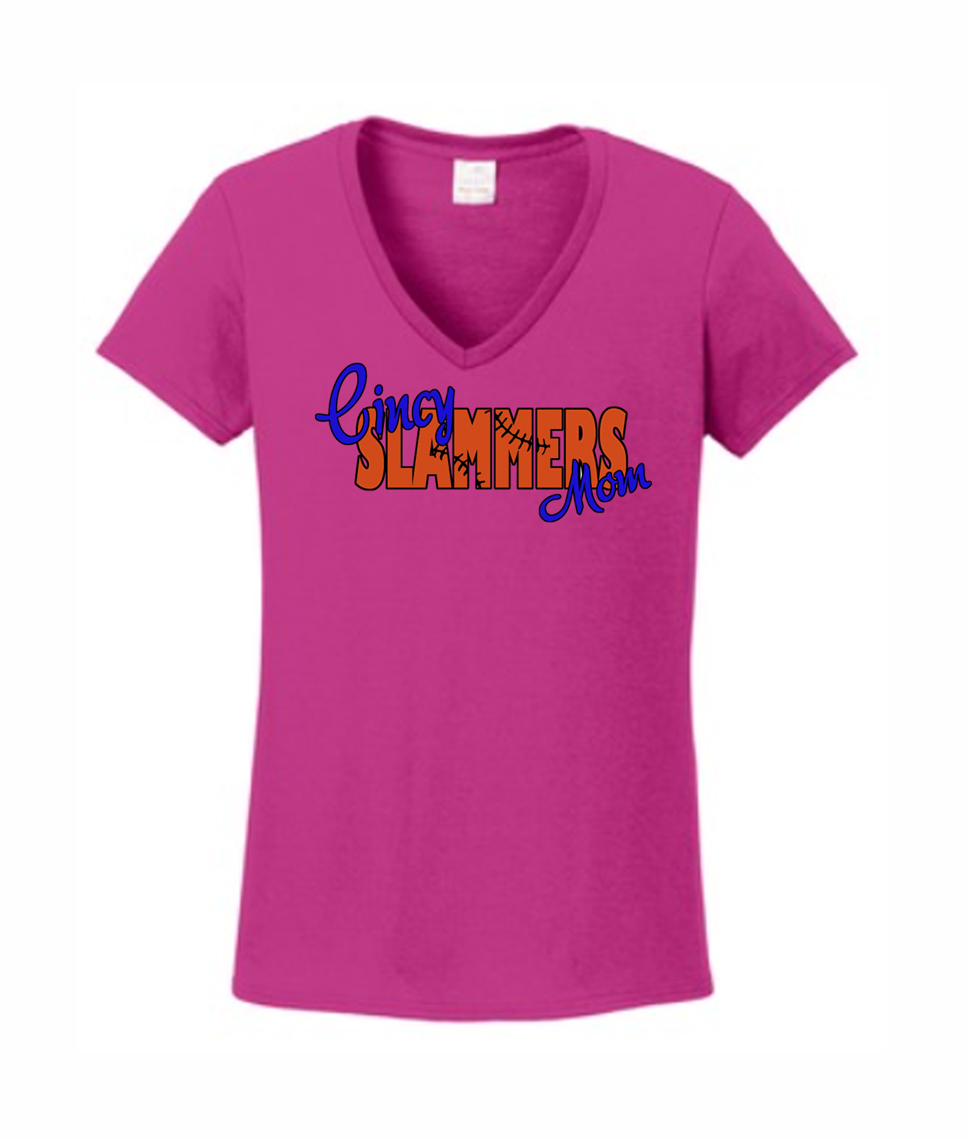 Ladies Pink V-neck Laces In Words Mom