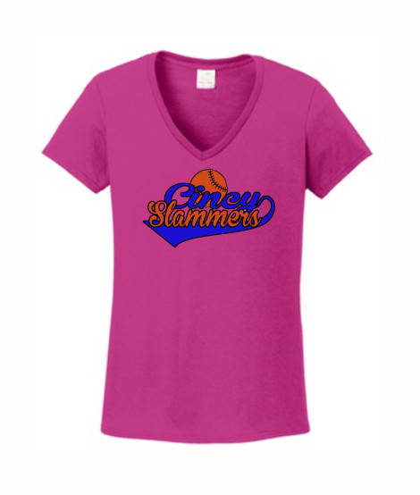 Ladies Helonica Pink V-neck Swoosh
