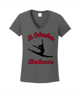 St. Columban Bobcats Ladies Grey V-Neck Dance