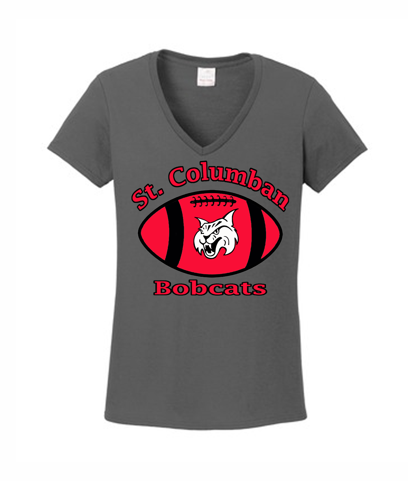 St. Columban Bobcats Ladies Grey V-Neck Football Bobcat