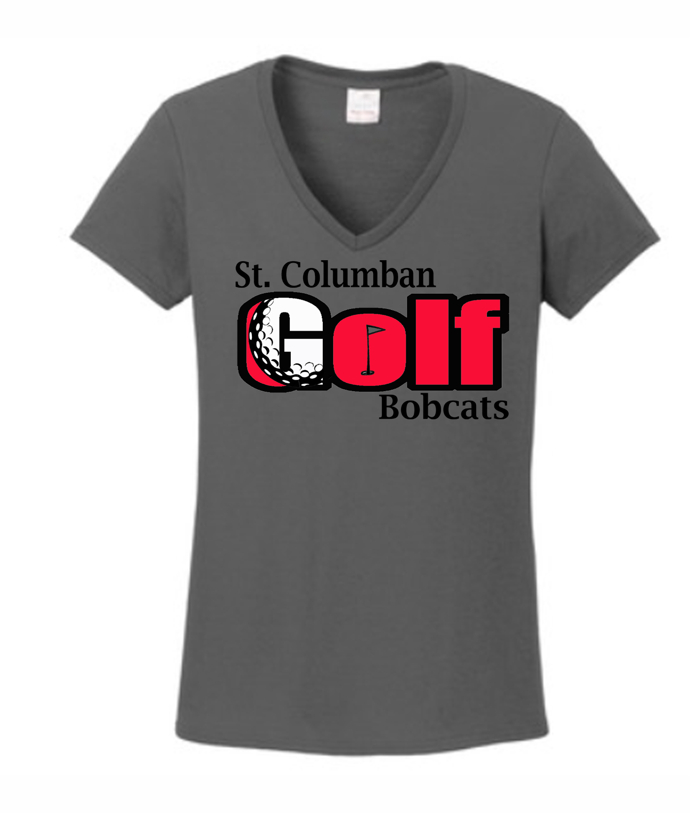 St. Columban Bobcats Ladies Grey V-Neck Golf