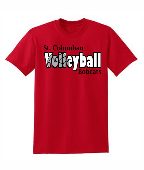 St. Columban Volleyball (in words) Red T-Shirt