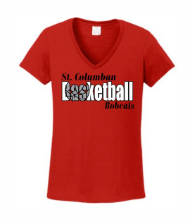 St. Columban Bobcats Ladies Red V-Neck Basketball (in words)