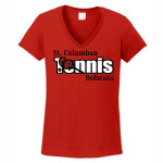 St. Columban Bobcats Ladies Red V-Neck Tennis