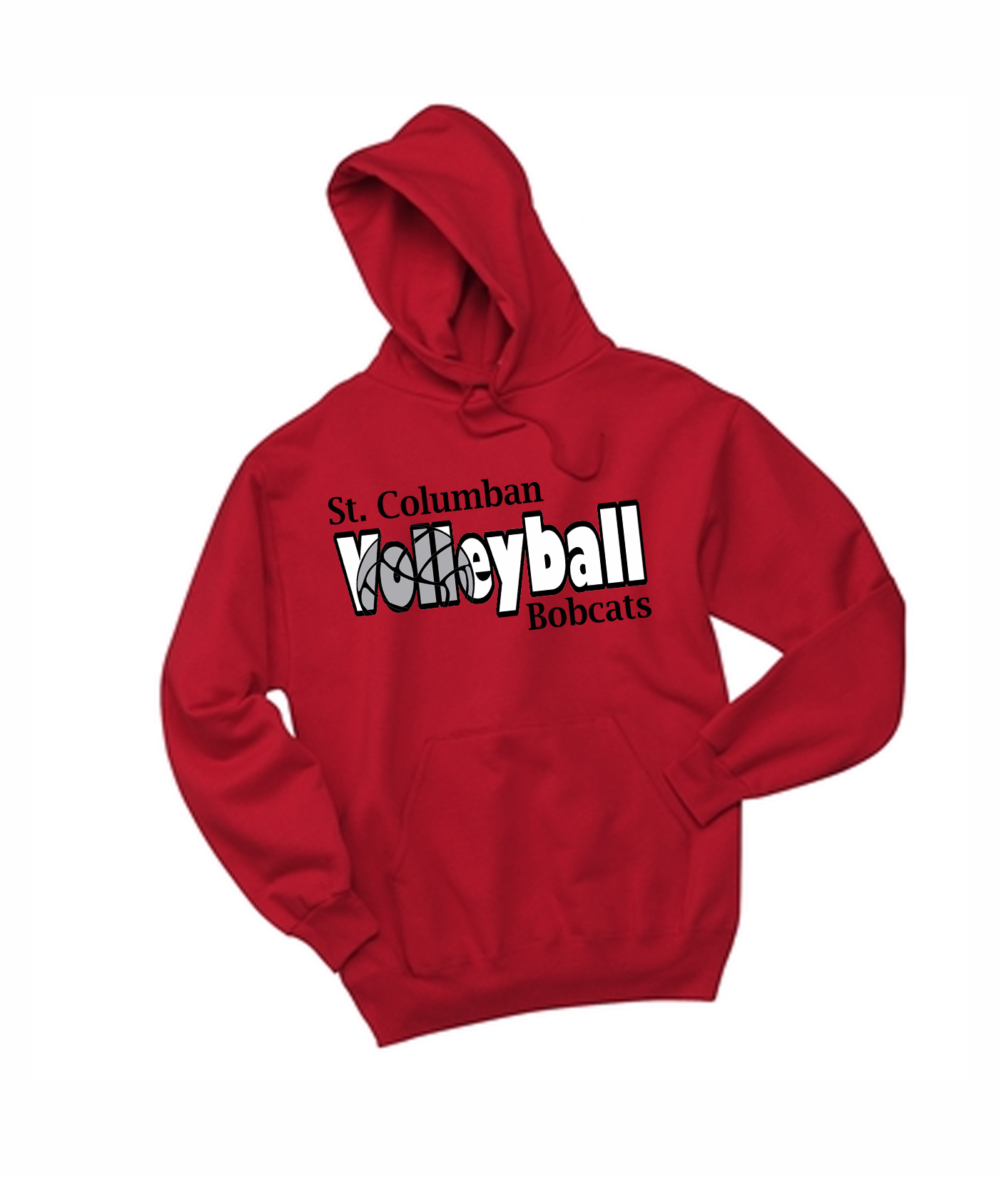 St. Columban Bobcats Volleyball Inside Red Hoodie