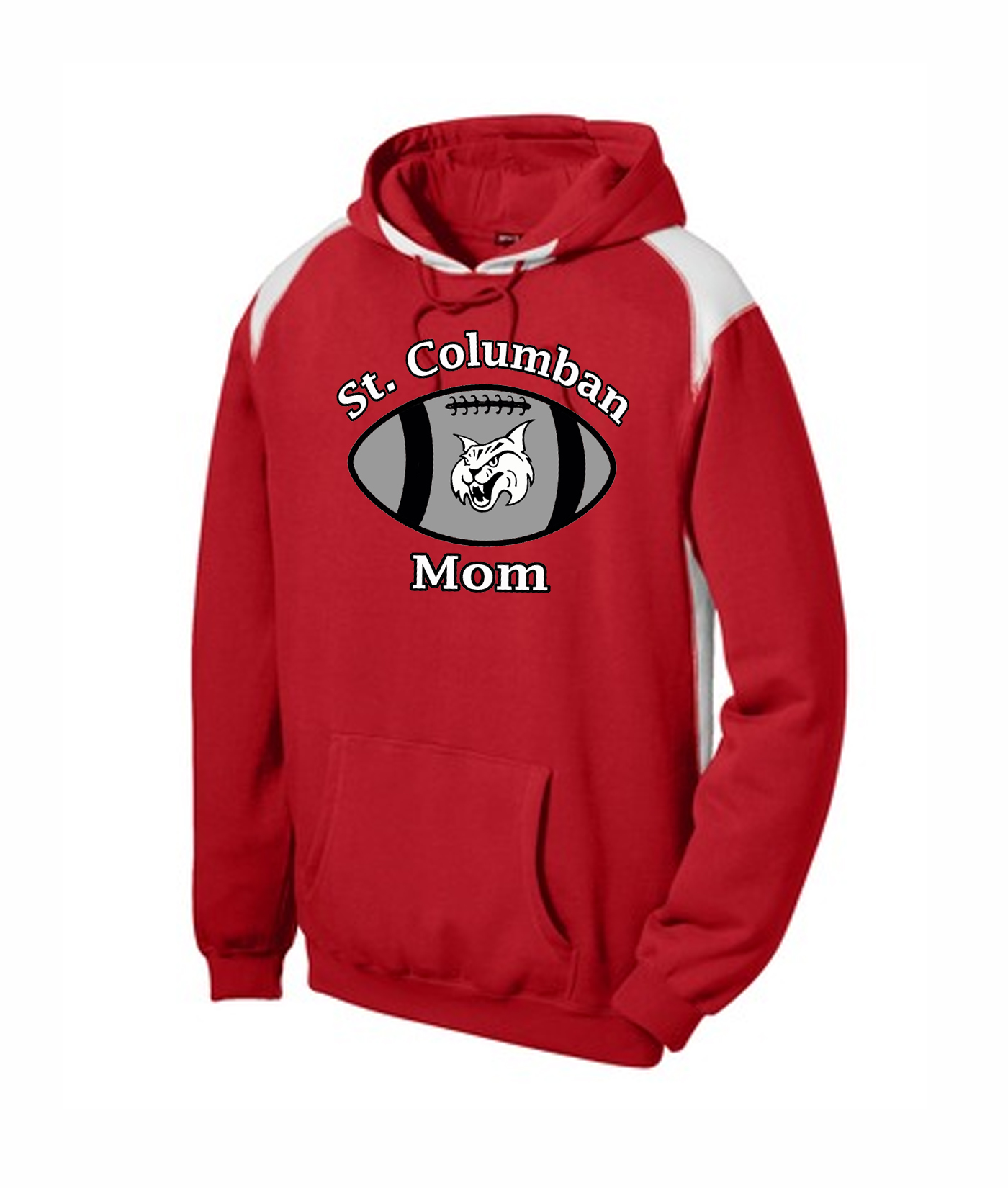 St. Columban Football Mom Red Multi Color Hoodie