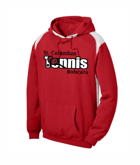 St. Columban Bobcats Tennis Red Multi Color Hoodie
