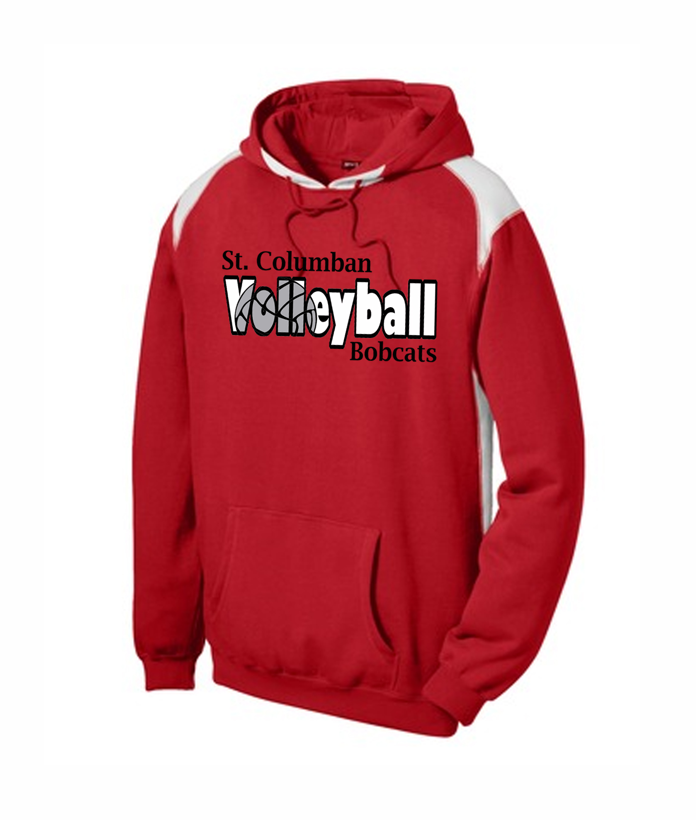 St. Columban Bobcats Volleyball Inside Red Multi Color Hoodie