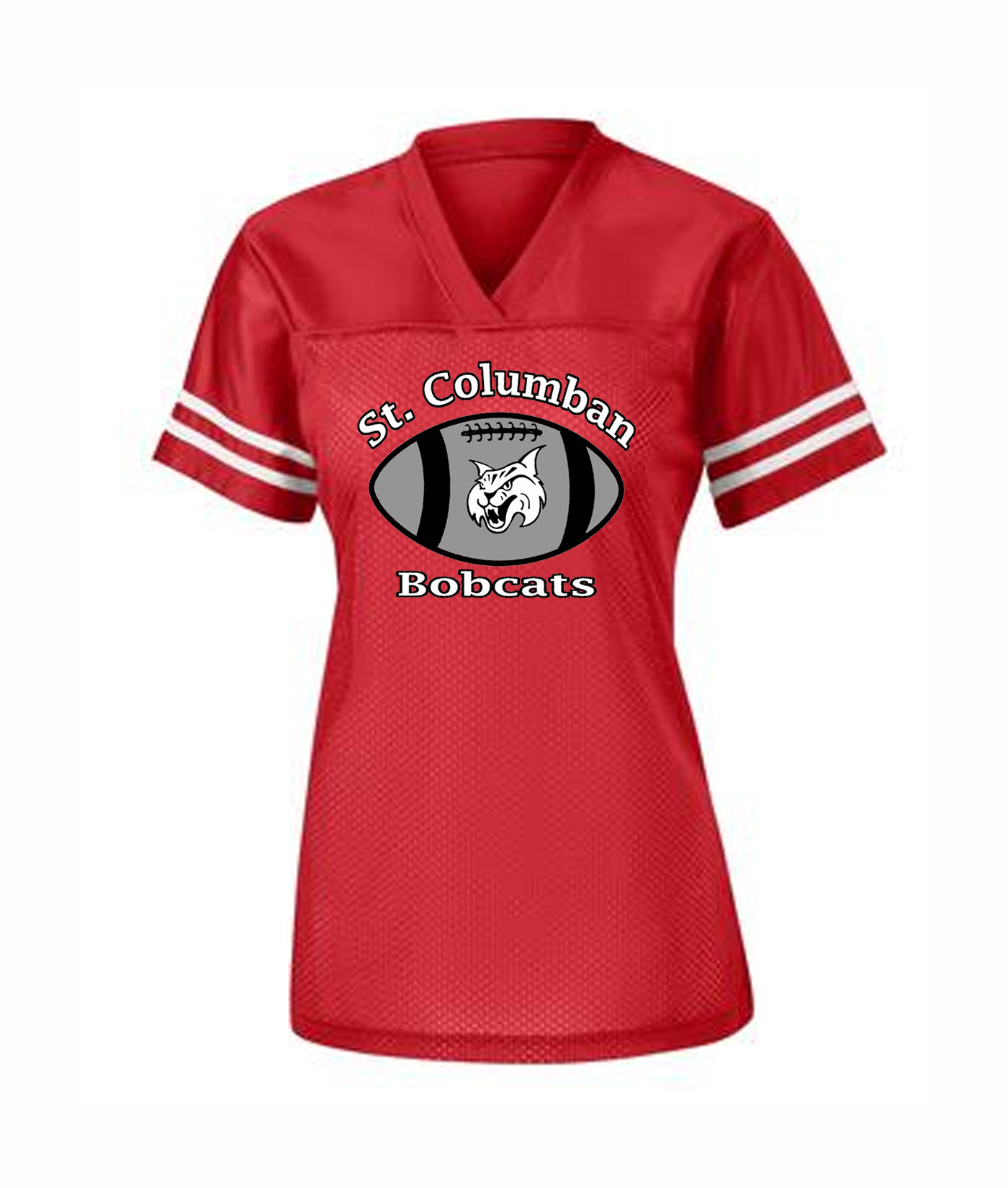 St. Columban Bobcat in Football Ladies Jersey Red