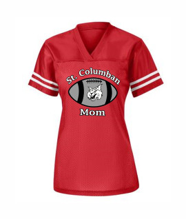 St. Columban Football Mom Ladies Jersey Red