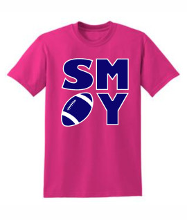 Gildan Football Block Pink Tee