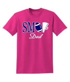 Gildan Football Megaphone DAD Pink Tee
