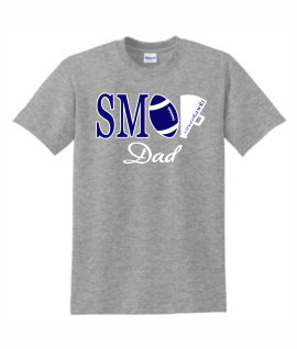Gildan Football White Megaphone DAD Grey Tee