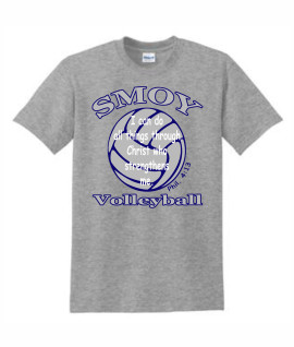 Gildan Large Navy Outlined Volleyball Bible Verse Grey Tee