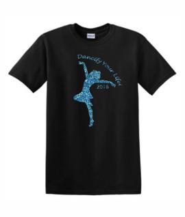 Gildan Dancify Dancer Blue Glitter Black Tee
