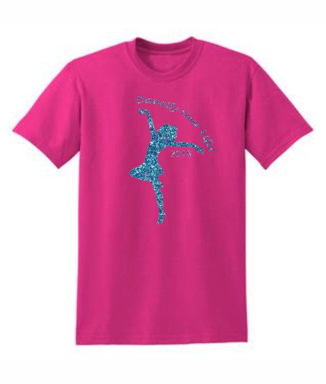 Gildan Dancify Dancer Blue Glitter Pink Tee