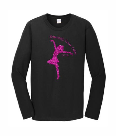 Gildan Dancify Dancer Pink Glitter Black Long Sleeve Tee