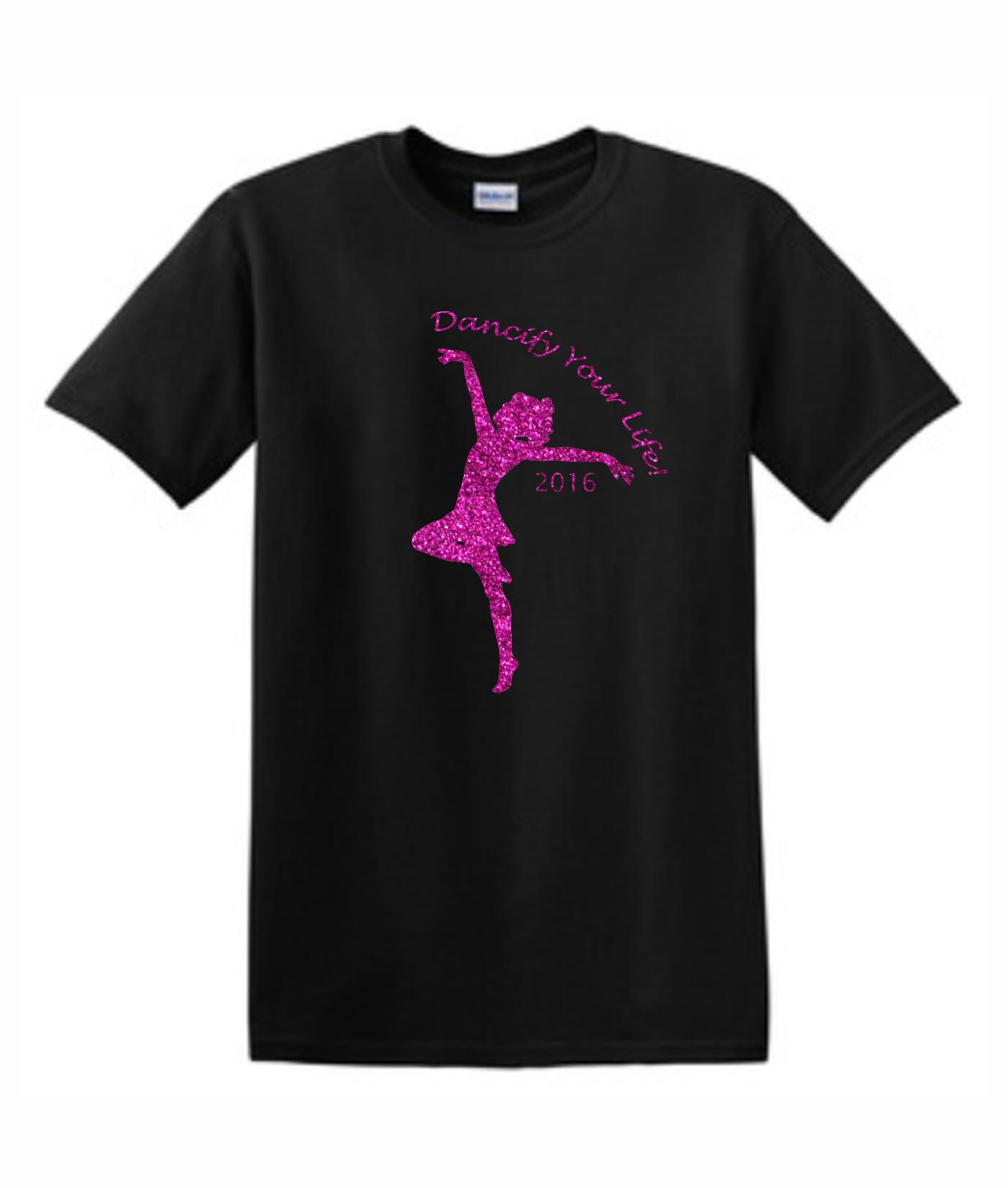 Gildan Dancify Dancer Pink Glitter Light Black Tee