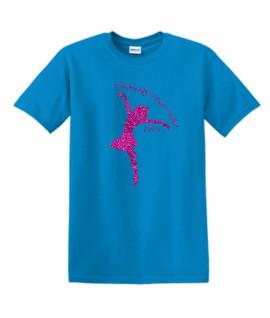 Gildan Dancify Dancer Pink Glitter Light Blue Tee