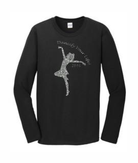 Gildan Dancify Dancer Silver Glitter Black Long Sleeve Tee