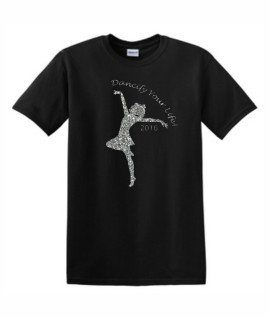 Gildan Dancify Dancer Silver Glitter Black Tee