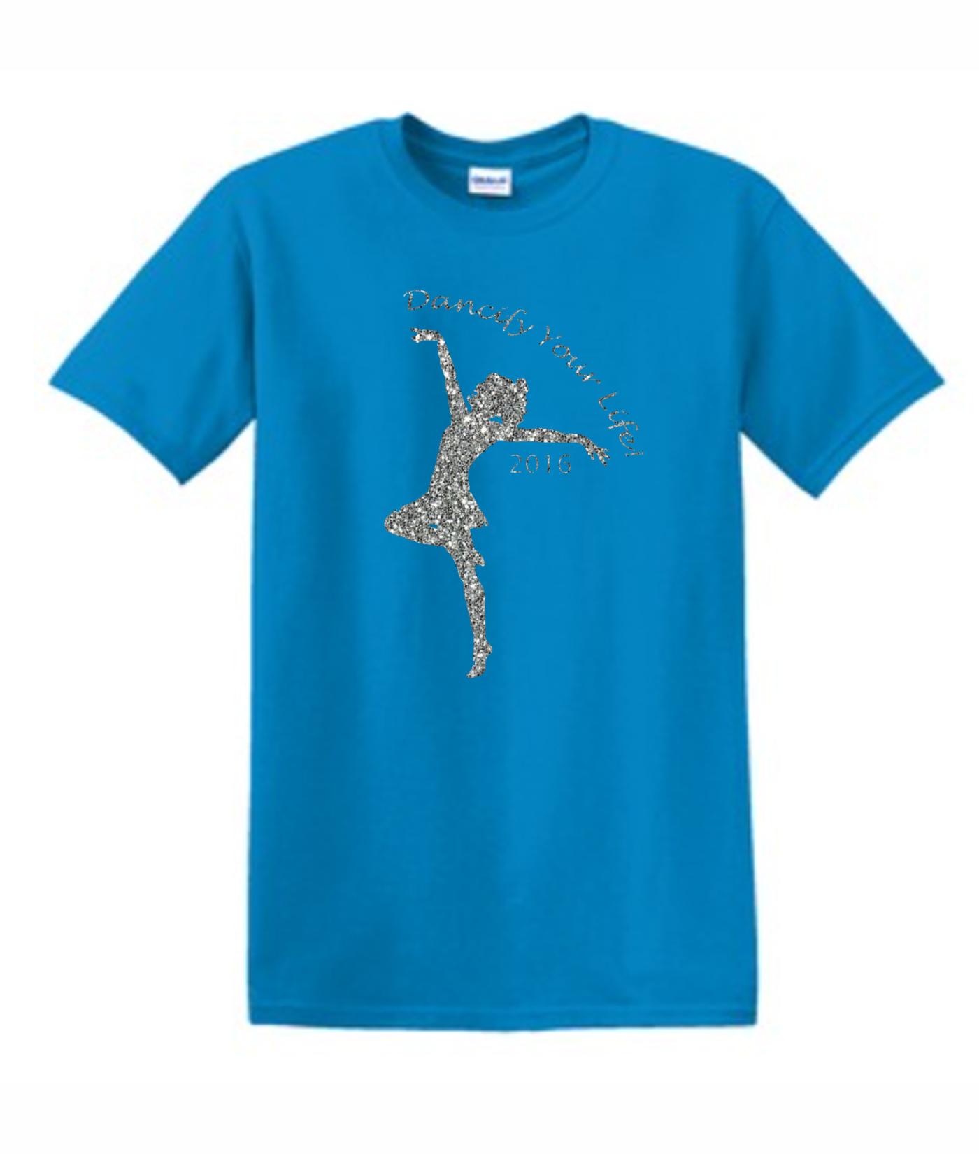 Gildan Dancify Dancer Silver Glitter Light Blue Tee