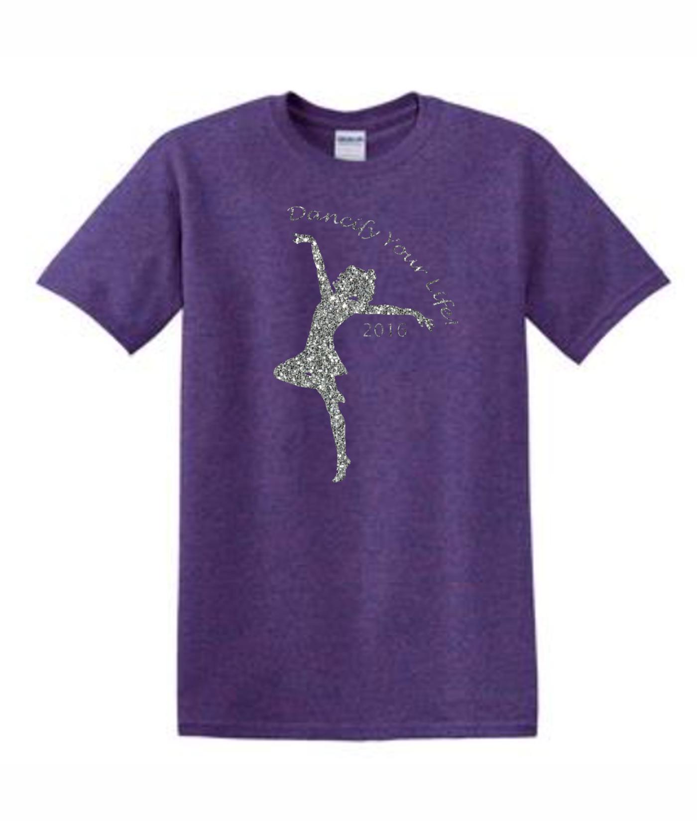 Gildan Dancify Dancer Silver Glitter Lilac Tee