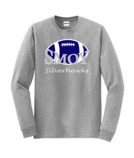 Gildan Large Football Lucida Grey Long Sleeve Tee