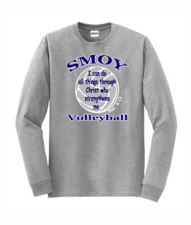 Gildan Volleyball Bible Verse Grey Long Sleeve Tee