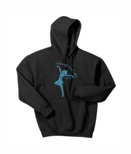 Hanes Dancify Dancer Blue Glitter Black Hoodie