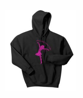Hanes Dancify Dancer Pink Glitter Black Hoodie