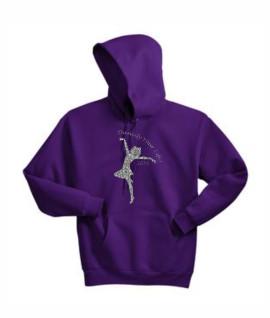 Hanes Dancify Dancer Silver Glitter Purple Hoodie