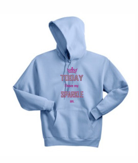 Hanes Today I have my sparkle on Pink_Silver Glitter Light Blue Hoodie