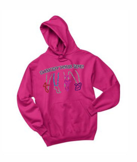 Jerzees Dancify Shoes Glitter Outlined Pink Hoodie