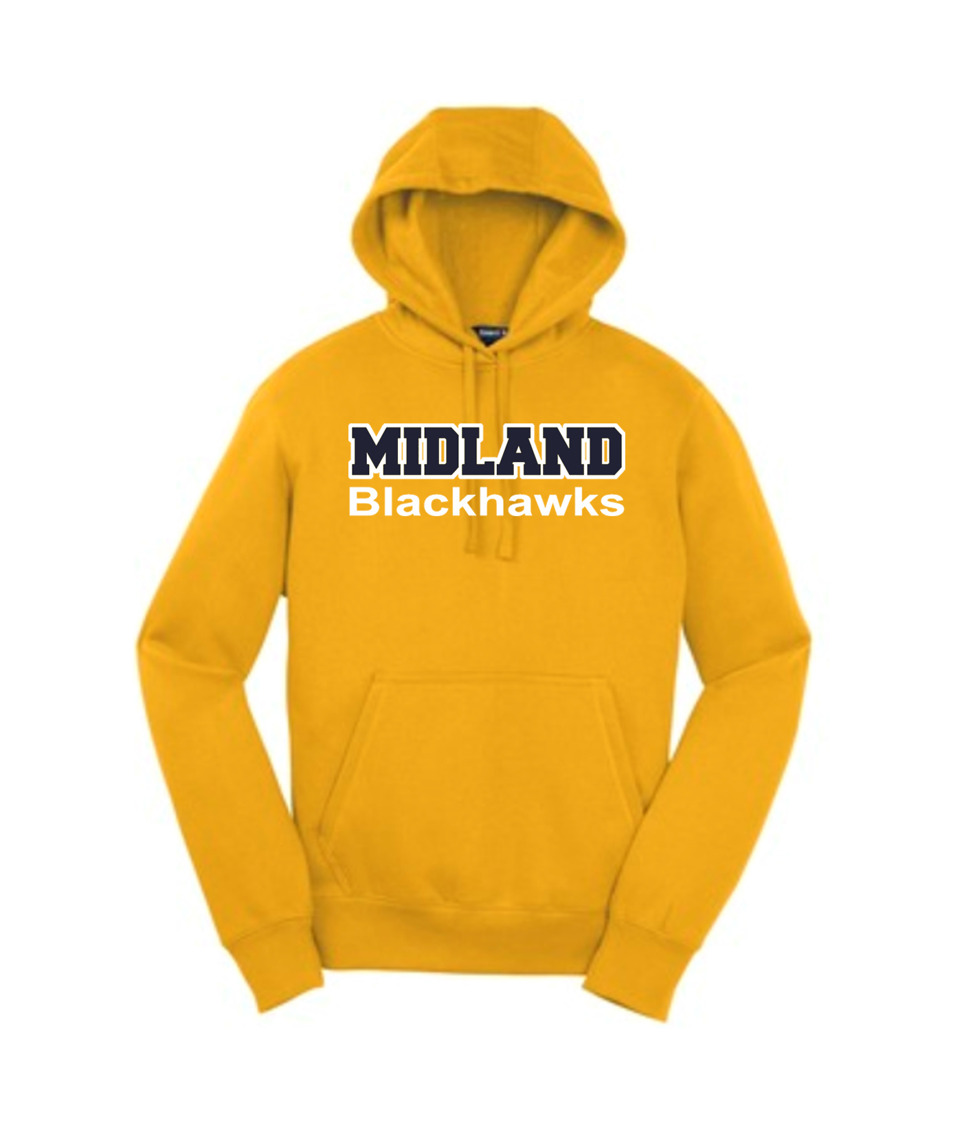 Sport-Tek Gold Pullover Hooded Sweatshirt Color Midland Blackhawks White Outline Navy Inside