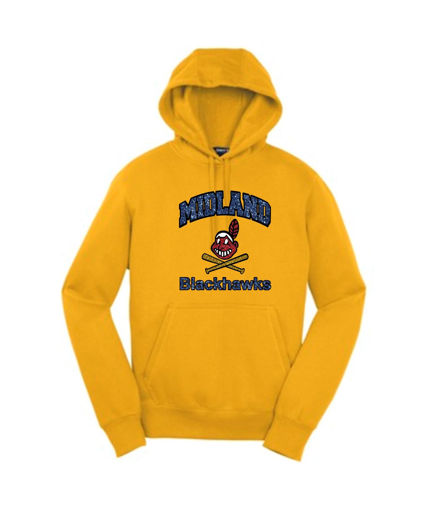 Sport-Tek Gold Pullover Hooded Sweatshirt Glitter Curved Blackhawk