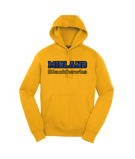 Sport-Tek Gold Pullover Hooded Sweatshirt Glitter Midland Blackhawks Gold and Navy with Black Outline