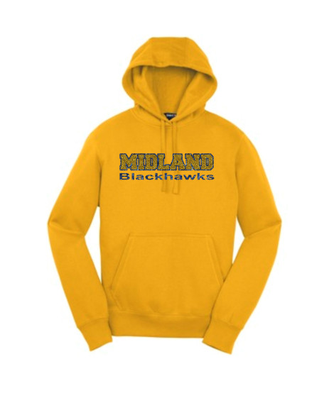 Sport-Tek Gold Pullover Hooded Sweatshirt Glitter Midland Blackhawks Navy Outline Gold Inside