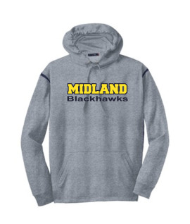 Sport-Tek Grey Tech Fleece Colorblock Hooded Sweatshirt Color Midland Blackhawks Navy Out Gold In