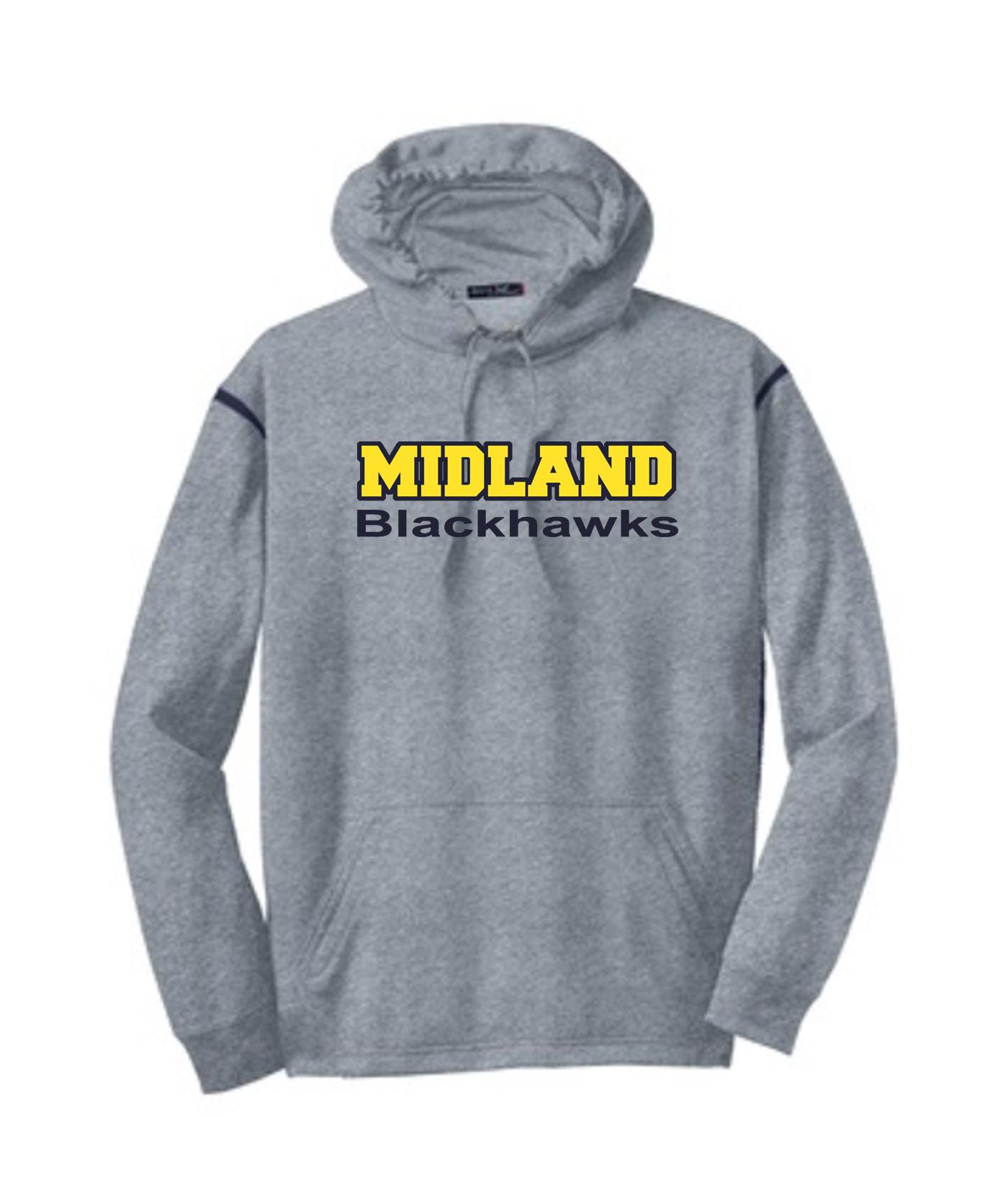 Sport-Tek Grey Tech Fleece Colorblock Hooded Sweatshirt Color Midland Blackhawks Navy Out Gold In