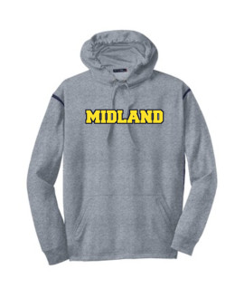 Sport-Tek Grey Tech Fleece Colorblock Hooded Sweatshirt Color Midland Navy Out Gold In