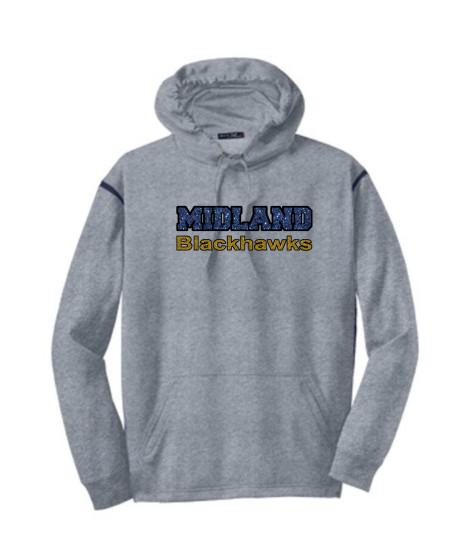 Sport-Tek Grey Tech Fleece Colorblock Hooded Sweatshirt Glitter Midland Blackhawks Gold and Navy with Black Outline