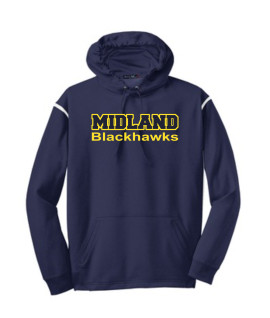 Sport-Tek Navy Tech Fleece Colorblock Hooded Sweatshirt Color Midland Blackhawks Gold Outline Navy Inside