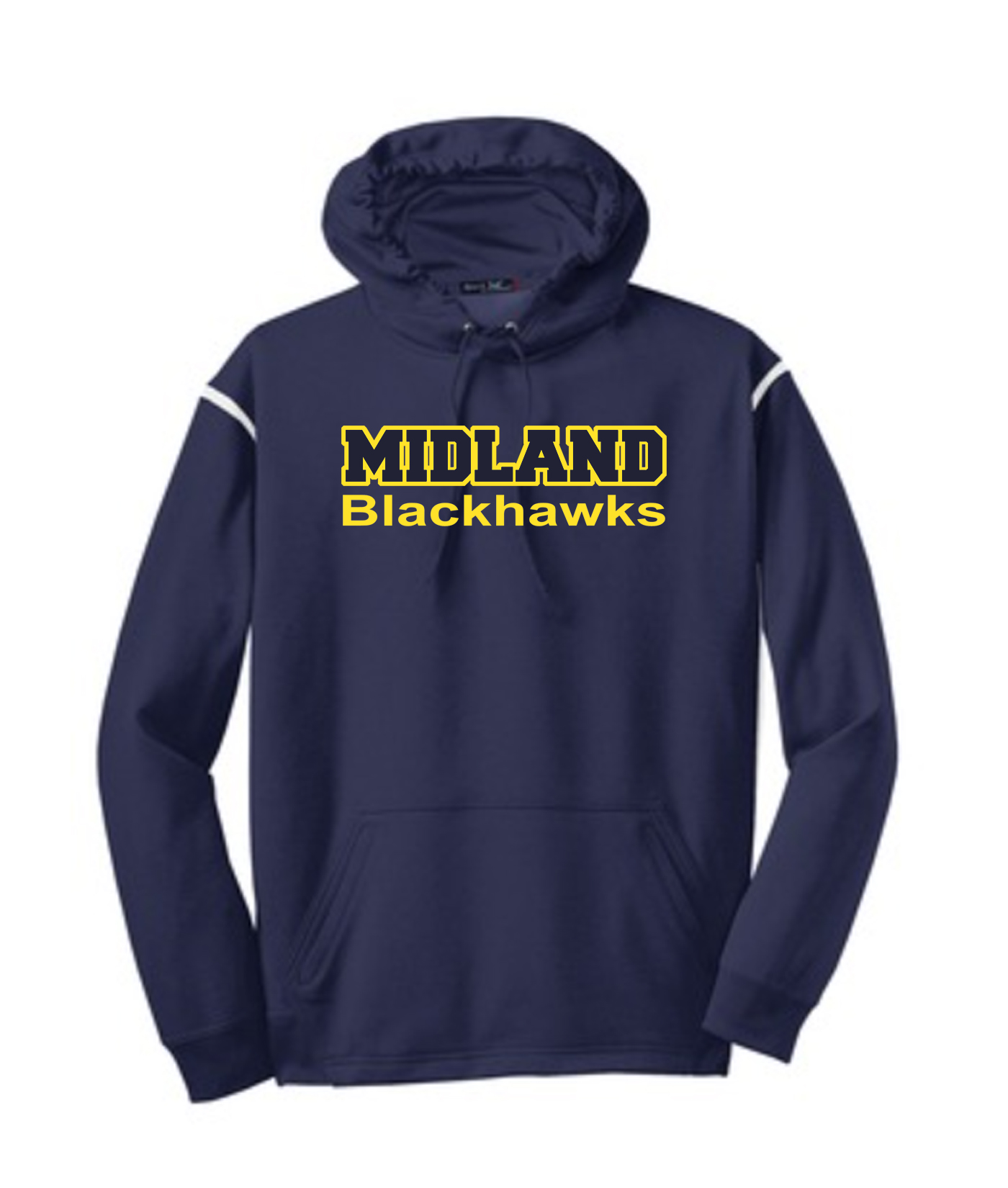 Sport-Tek Navy Tech Fleece Colorblock Hooded Sweatshirt Color Midland Blackhawks Gold Outline Navy Inside
