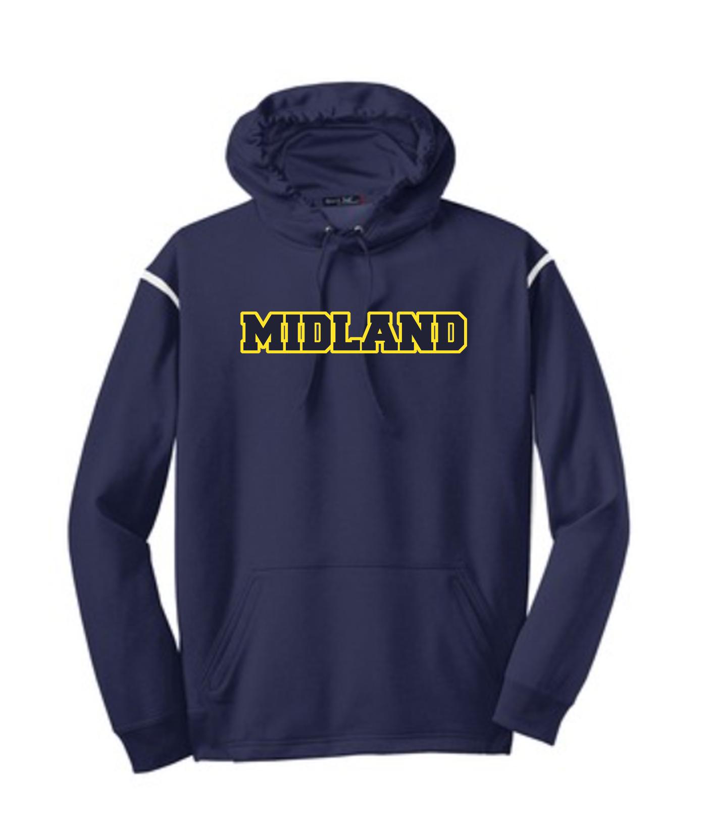 Sport-Tek Navy Tech Fleece Colorblock Hooded Sweatshirt Color Midland Gold Outline Navy Inside