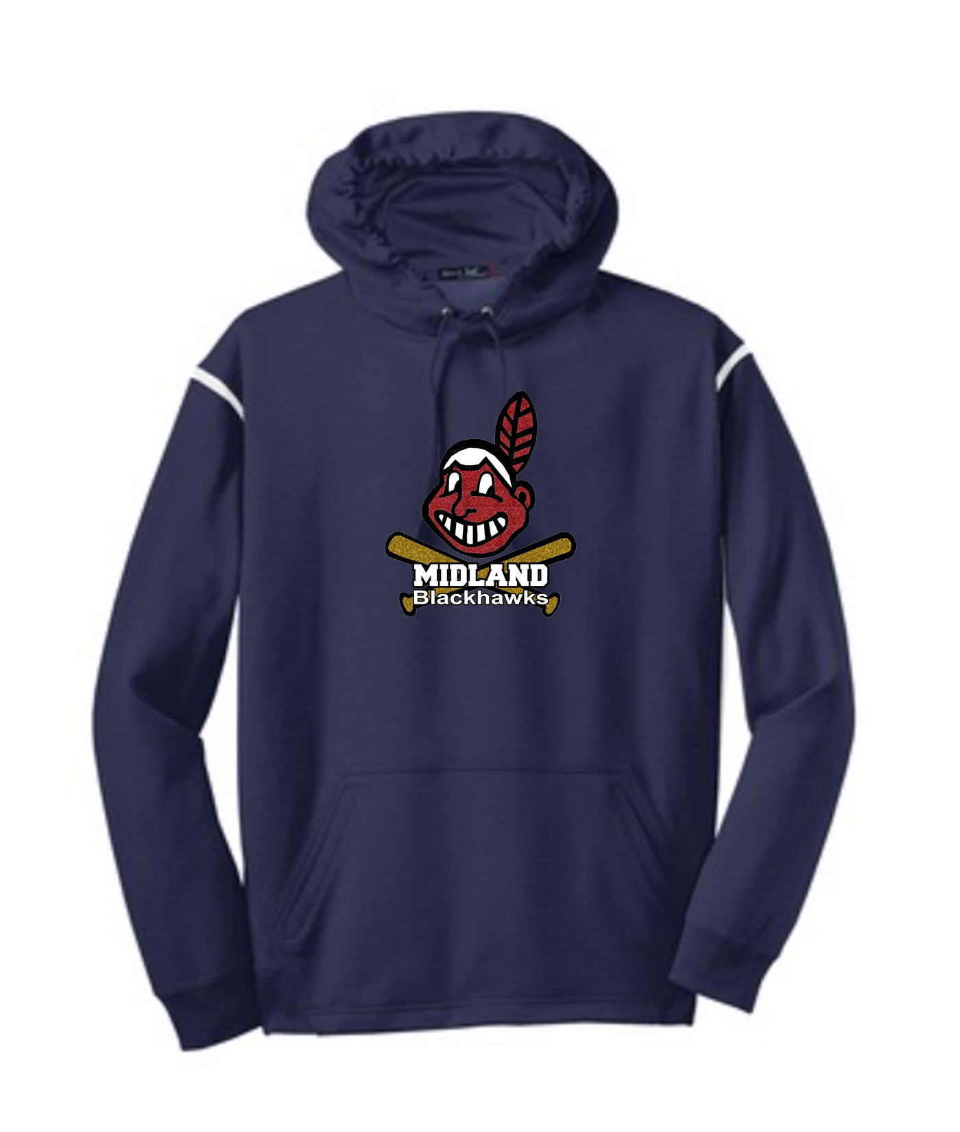Sport-Tek Navy Tech Fleece Colorblock Hooded Sweatshirt Glitter Giant Blackhawk