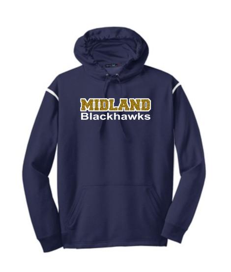 Sport-Tek Navy Tech Fleece Colorblock Hooded Sweatshirt Glitter Midland Blackhawks Gold Inside with White Outline