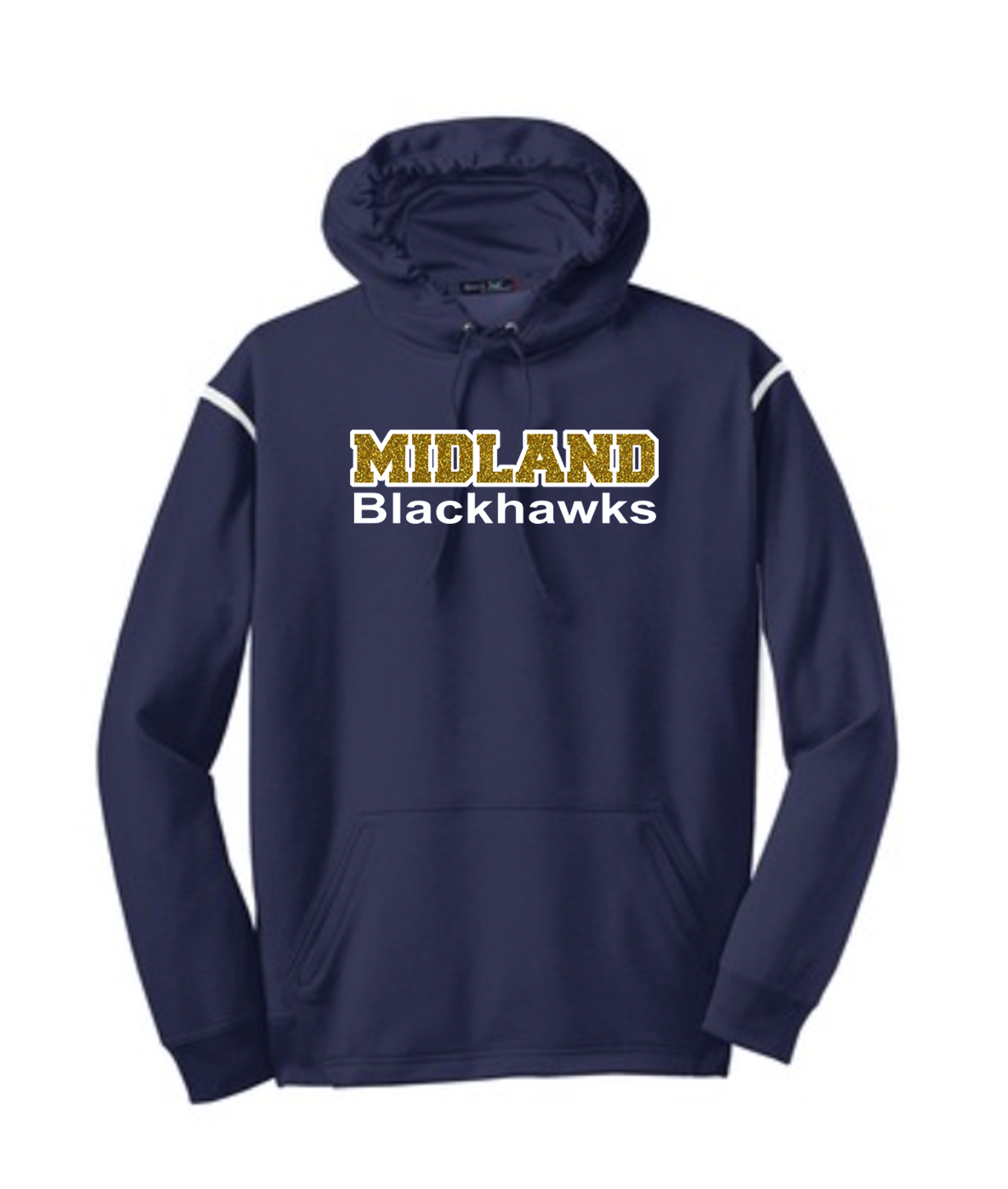 Sport-Tek Navy Tech Fleece Colorblock Hooded Sweatshirt Glitter Midland Blackhawks Gold Inside with White Outline