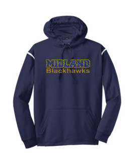 Sport-Tek Navy Tech Fleece Colorblock Hooded Sweatshirt Glitter Midland Blackhawks Gold Outline Navy Inside